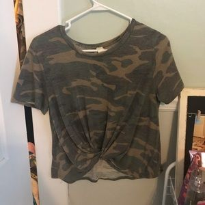 camo shirt with a little tie in the front